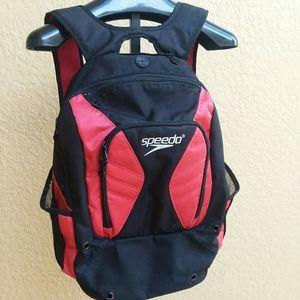 SPEEDO Red + Black Book Bag Backpack